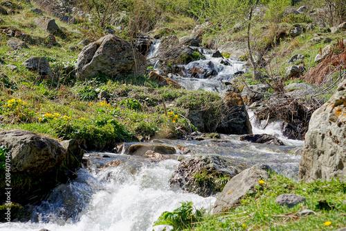 Fotobehang Bergrivier Landscape with a mountain river near the village Stepantsminda, Georgia, Europe, Caucasus, horizontal image