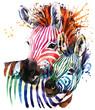 zebra illustration with splash watercolor texture. rainbow  background for fashion print, poster for textiles, fashion design