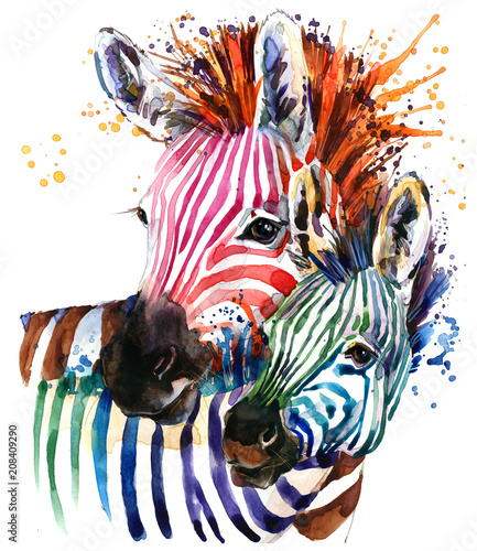 zebra illustration with splash watercolor texture. rainbow  background for fashion print, poster for textiles, fashion design - 208409290