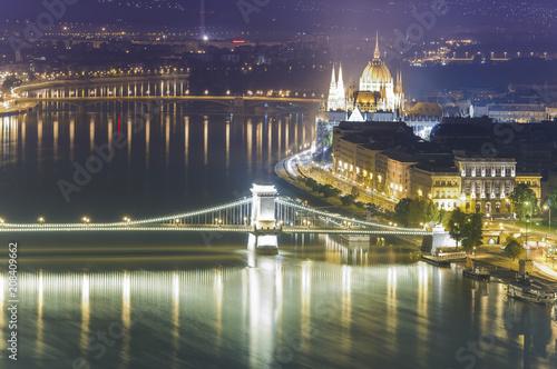 Fotobehang Boedapest night scene of Budapest city view, Hungary