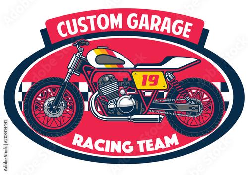 flat tracker motorcycle badge design