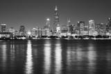 Black and white Chicago waterfront panorama at night, USA. - 208417282