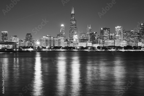 Fototapeta Black and white Chicago waterfront panorama at night, USA.