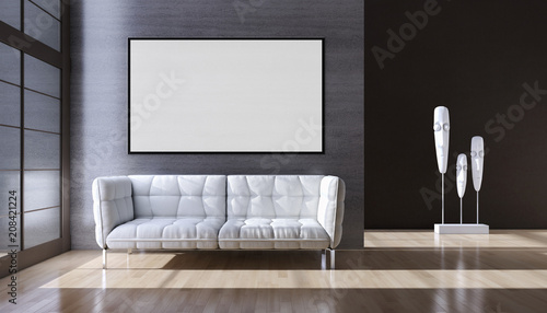 Leinwanddruck Bild Modern bright interiors apartment with mockup poster frame 3D rendering illustration