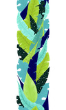 Seamless Border of Green and Blue Leaves - 208423605