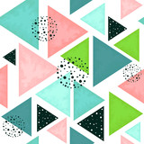 Seamless Pattern of Triangles in Pastel Colors - 208423628
