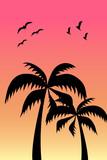 Palmen mit Voegel - 208426018