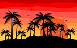 creative background with silhouette palm in sunset  - 208427076