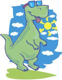 Vector illustration of funny cartoon dinosaur