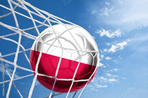 Fototapeta Fussball mit polnischer Flagge