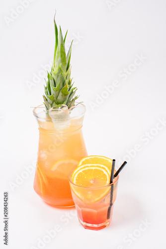 Fotobehang Sap orange cocktail sunrise in glass white background