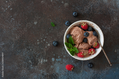 Chocolate ice cream and fresh berries