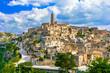 Leinwanddruck Bild - Matera, Basilicata, Italy: Landscape view of the old town - Sassi di Matera, European Capital of Culture, at dawn