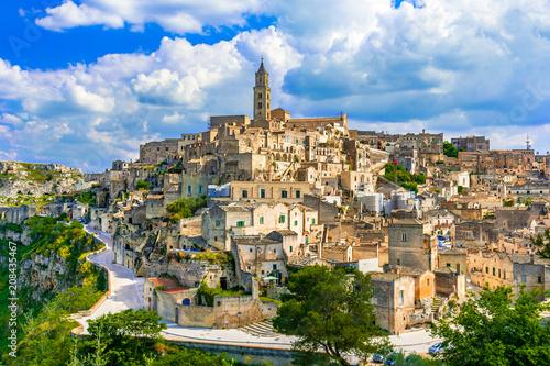 Leinwanddruck Bild Matera, Basilicata, Italy: Landscape view of the old town - Sassi di Matera, European Capital of Culture, at dawn