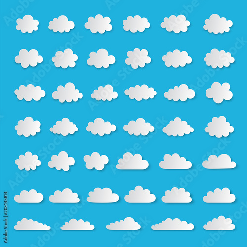 Set of vector clouds in paper cut style - 208435813