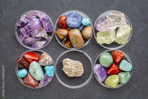 colorful gemstones with Gypsum rosette