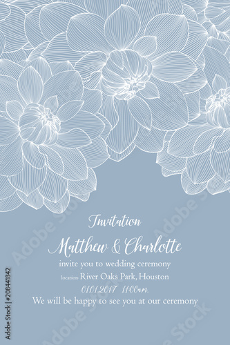 Flower wedding invitation with flowers of dahlias. - 208441842
