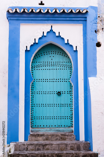 Blue Door and Stone Wall, Medina, Chefchaouen, Morocco