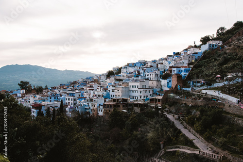 Sunset in Chefchaouen, Morocco, View of Medina - 208442603