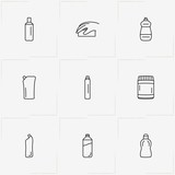 Household Chemicals line icon set with cabinet for chemicals , sponge and household chemicals - 208446474