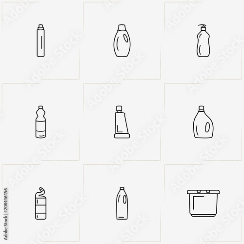 Household Chemicals line icon set with household chemicals and basin