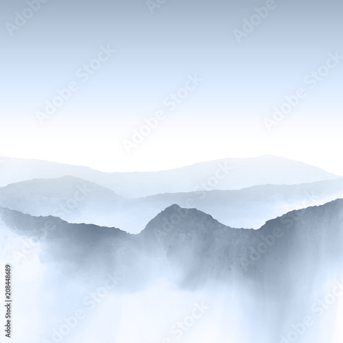 Watercolour mountain landscape - 208448689
