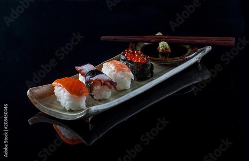 Aluminium Sushi bar Close-up shot sushi isolated on black background