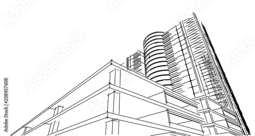Fototapeta Abstract 3D building wireframe structure. Illustration construction graphic idea , Architectural sketch idea.