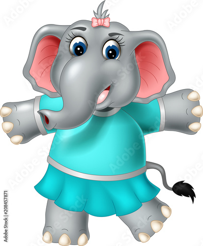 Plexiglas Zoo cute elephant cartoon standing with laughing