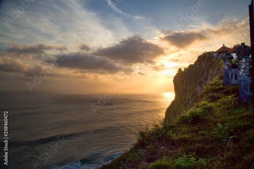Aluminium Strand Sunset landscape of Bali sea and mountains, Indonesia