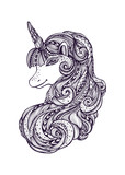 Decorative ornamental Zen tangle Zen doodle Unicorn black on white made by trace for coloring page or relax adult coloring book or for print or for t shirt or for tattoo - 208464803