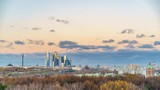 Timelapse of aerial wiev on Moscow city at autumn: day to night transition - 208467475