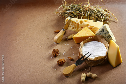 Fototapeta Cheese menu tasting with camembert, DorBlu salty blue cheese and gauda, nuts, big size resolution. Food banner for text or design. top view image with copy space