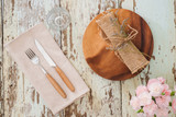 Rustic table setting on a wooden table - 208472050