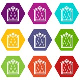 Fairy window frame icons 9 set coloful isolated on white for web