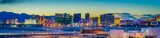 Skyline view at sunset of the famous Las Vegas Strip located in world class hotels and casinos, NV - 208474453