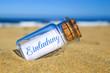 Leinwanddruck Bild - Flaschenpost am Strand: Einladung