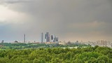 Timelapse of aerial wiev on Moscow city at rainy summer day - 208477643