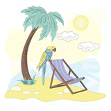 Sea Ocean Tropical Summer Vector Colorful Illustration BEACH art projects, prints, T-shirts, posters, bags, scrapbooking, cardmaking, planner stickers, postcards, invitations, fabrics