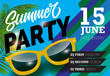 Summer party, June fifteen lettering with sunglasses. Summer invitation design. Handwritten and typed text, calligraphy. For leaflets, brochures, posters or banners. - 208480244