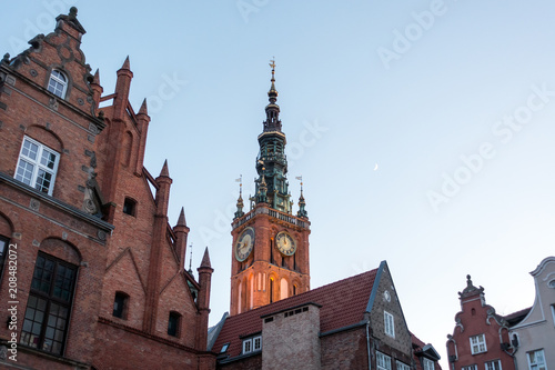obraz lub plakat Photo of the old town of Gdansk architecture in sunset light. Aerial shot. Channel and buildings - top view