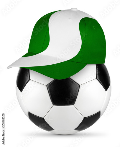 Classic black white leather soccer ball with nigeria nigerian flag baseball fan cap isolated background sport football concept