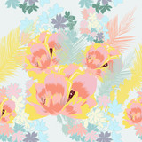 Beautiful exotic tropical pattern with pink flowers and palm leafs - 208483447