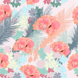 Beautiful tropical pattern with pink flowers and palm leafs - 208484015