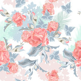 Beautiful tropical vintage  pattern with pink rose flowers and palm leafs - 208484057