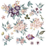 Big collection of vector elegant florals and field garden flowers. Ideal for wedding design - 208484486