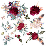Collection of vector hand drawn flowers for design - 208484687