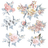 Collection of vector realistic pastel roses for wedding design in vintage style - 208485023