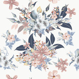 Floral pattern with realistic blue, pink flowers, leafs and field plants - 208485227