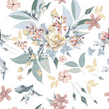 Floral pattern with beautiful rose flowers and leafs - 208485229
